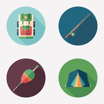 Pesca e camping plana rodada ícone conjunto.