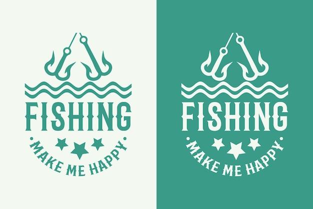 Pesca me faz happyvintage tipografia pesca t shirt design ilustração