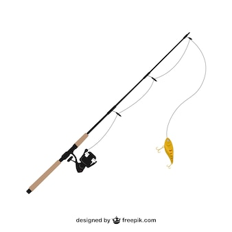 Pesca vara de ilustração vetorial