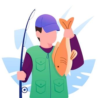 Pescador com peixe na sua ilustração de mão