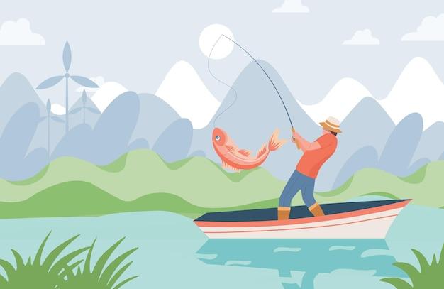 Pescador com vara de pescar em pé no barco