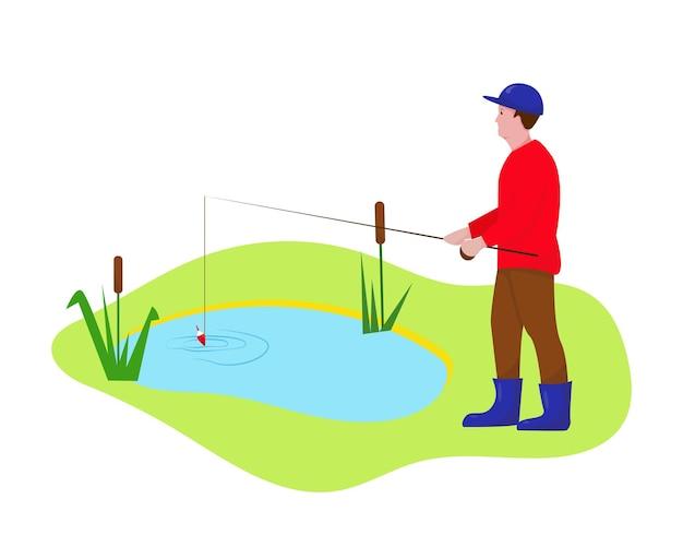Pescador com vara de pescar no lago homem está pescando esporte ao ar livre ou conceito de passatempo
