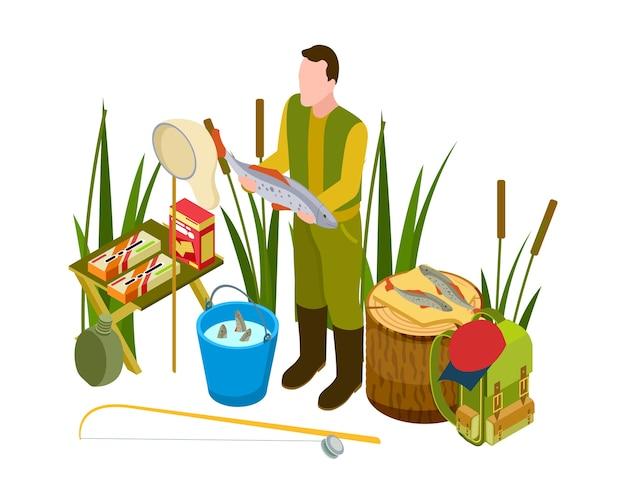 Pescador de sucesso entre a grama