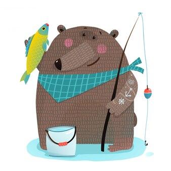Pescador de urso com vara de pescar, captura de peixe