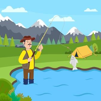 Pescador em botas de borracha em pé no lago. vetor