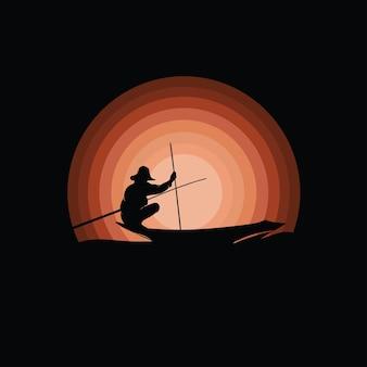 Pescador em silhueta de barco