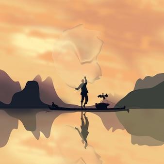 Pescador em um barco ao pôr do sol