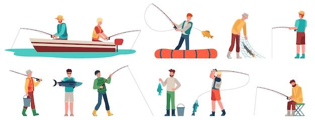 Pescador. fisher em barco com fiação, desportista com acessório de pesca e peixes, pesca esportiva e passatempo, conjunto de caracteres do vetor. homens segurando peixes na rede, balde com água