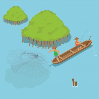 Pescador isométrico