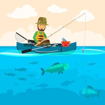 Pescador, ligado, um, barco, vetorial, ilustração