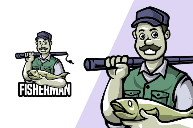 Pescador - modelo de logotipo de mascote