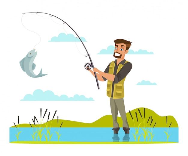 Pescador pegando peixes na ilustração de anzol, macho na margem do rio, desenho de homem com botas de borracha, cara mostra captura, recreação ao ar livre, tempo de lazer ativo