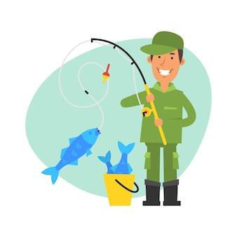 Pescador pegou peixes grandes na vara de pescar e sorri. personagens de vetor. ilustração vetorial