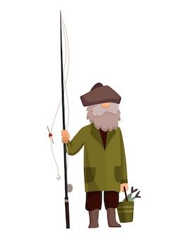 Pescador pescando com vara de pescar