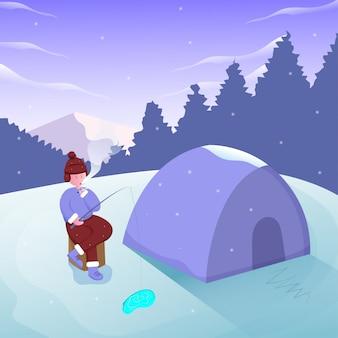 Pescador pescar no lago de gelo com ilustração de montanha e acampamento de cenário