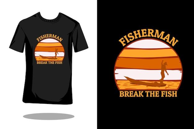 Pescador quebra a silhueta de peixes com design retrô de camiseta