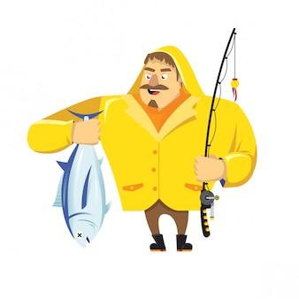Pescador, segurando, um, atum
