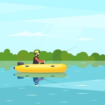 Pescador sentado no barco