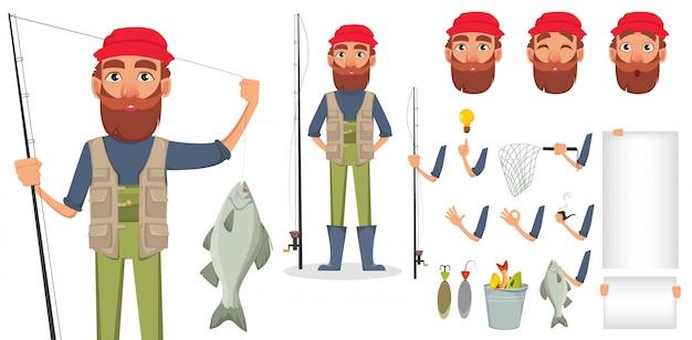 Pescadores, com, cana de pesca, e, peixe