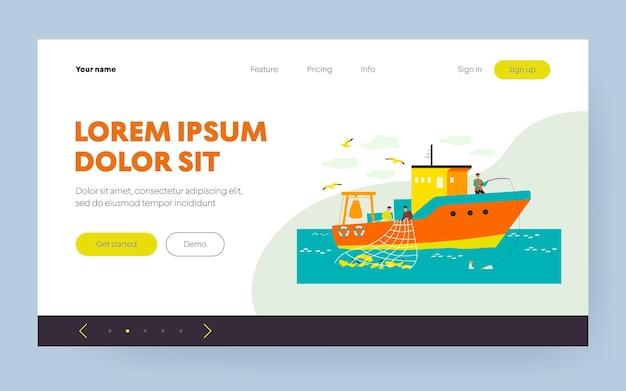 Pescadores de barco à vela no mar e pesca com vara e rede. ilustração vetorial para trabalho de pescador, navio de pescadores, conceito de pesca comercial