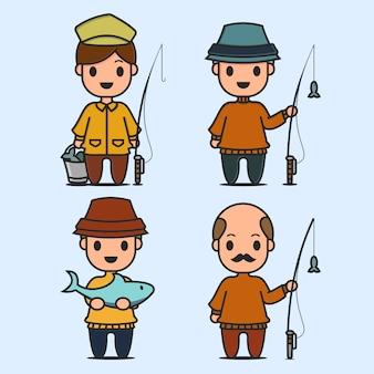 Pescadores e personagem de peixe