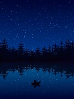 Pescar à noite perto de uma floresta com ilustração em vetor plana barco e vara
