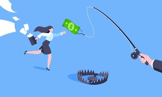 Pescar dinheiro atrás de um conceito de negócio com uma empresária correndo atrás de um dólar pendurado