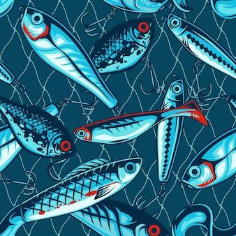 Pescar iscas artificiais vintage padrão sem costura com wobblers e iscas de plástico