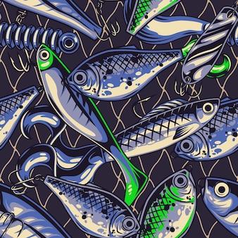 Pescar iscas vintage padrão sem costura com wobblers de colher colher acessórios artificiais de plástico Vetor Premium