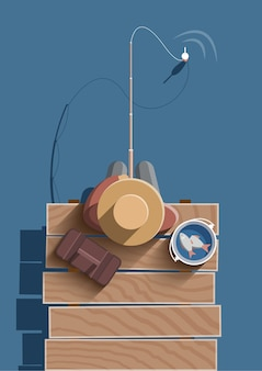 Pescaria. cartaz de estilo retro.