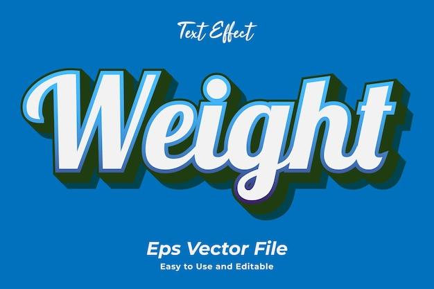 Peso do efeito de texto editável e fácil de usar vetor premium