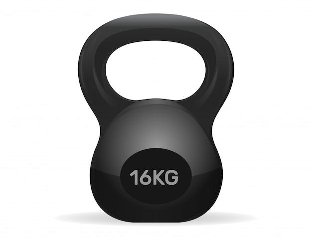 Peso do kettlebell atlético de 16 kg. exercício kettlebell. kettlebell do esporte isolado no fundo branco.