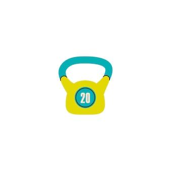 Peso kettlebell kg para treinamento em casa de ginástica ao ar livre uma ilustração vetorial