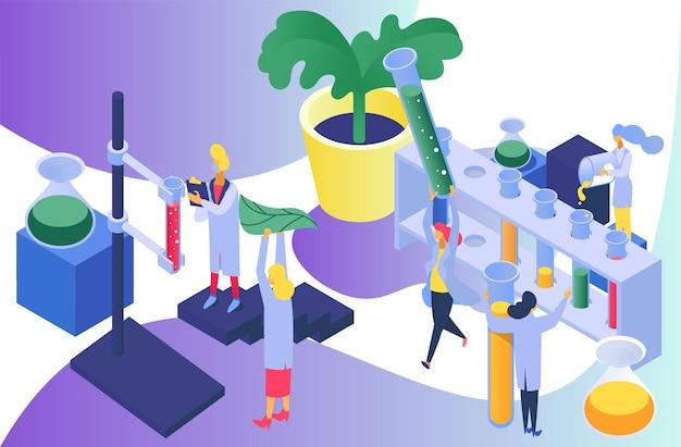 Pesquisa científica com planta, ilustração vetorial. grupo de cientista pequeno plano usa tubo de ensaio em laboratório, experimento químico com folha. análise de biologia por equipamento científico, frasco.
