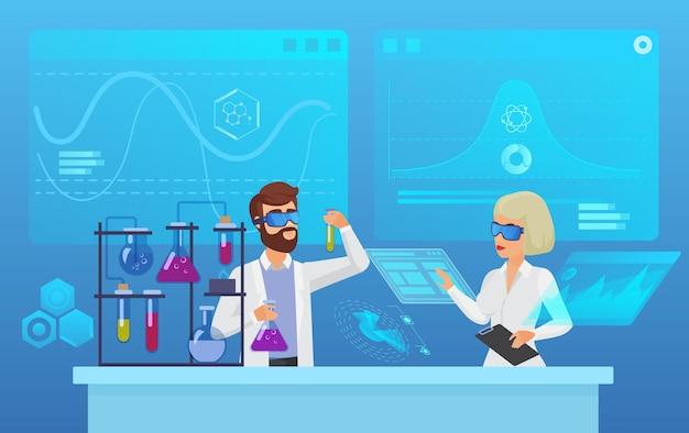 Pesquisa científica de laboratório futurista, bioquímica, farmácia, conceito de experimento de biotecnologia