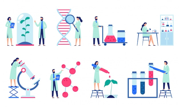 Pesquisa científica. laboratório de ciências, cientistas da química e conjunto de ilustração de laboratório clínico