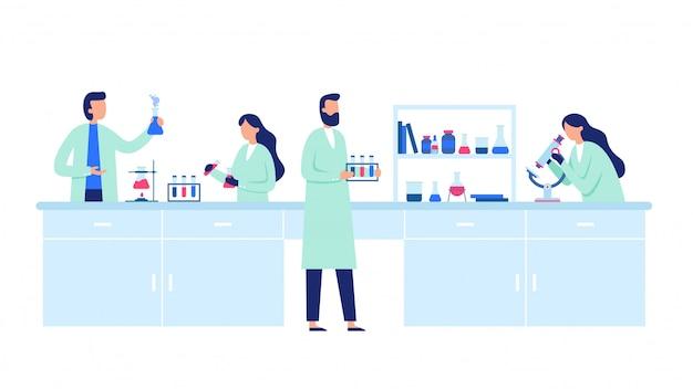 Pesquisa científica. pessoas cientista vestindo jalecos, pesquisas científicas e ilustração de experimentos de laboratório químico