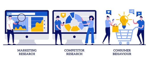Pesquisa da concorrência, conceito de comportamento do consumidor com ilustração de pequenas pessoas