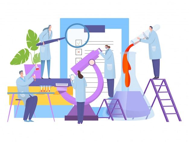 Pesquisa de análise no laboratório, ilustração. personagem de cientista de biologia em torno do microscópio grande, realizar experimento.