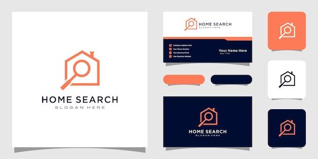 Pesquisa de casa e design de logotipo de imóveis com lupa