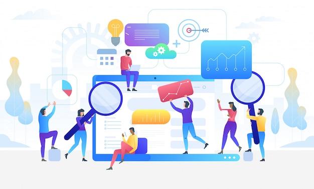 Pesquisa de dados. conceito de ferramentas de informação digital analytics.