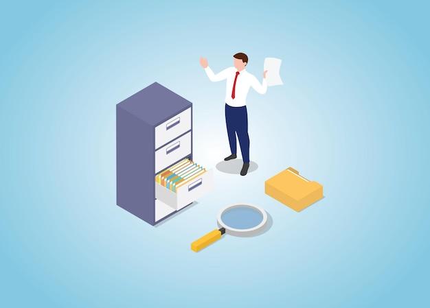 Pesquisa de documentos com pilha de arquivos e gabinete