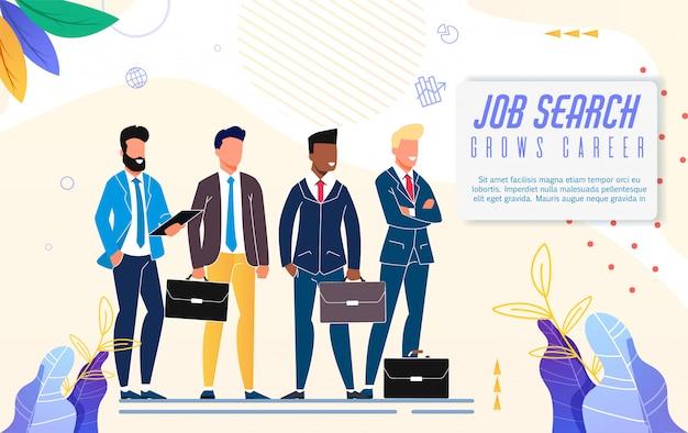 Pesquisa de emprego de cartaz brilhante cresce carreira rotulação.