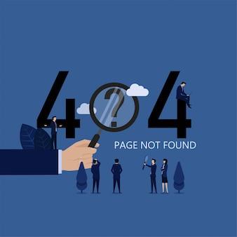 Pesquisa de equipe de negócios por página da web não encontrada
