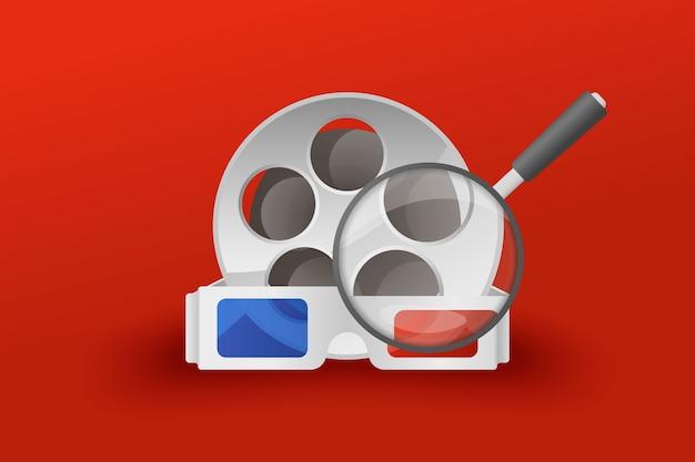 Pesquisa de filmes com óculos de lupa cine-film.
