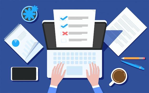 Pesquisa de formulário on-line na ilustração de laptop