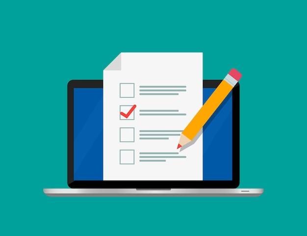 Pesquisa de formulário online na tela do laptop.