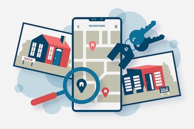 Pesquisa de imóveis de design plano com gadgets