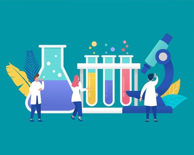 Pesquisa de laboratório médico com tubo de ensaio de vidro de ciência.