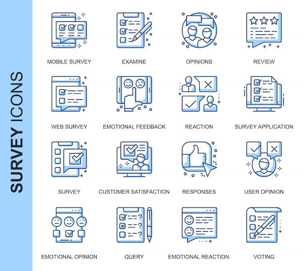Pesquisa de linha fina conjunto de ícones relacionados